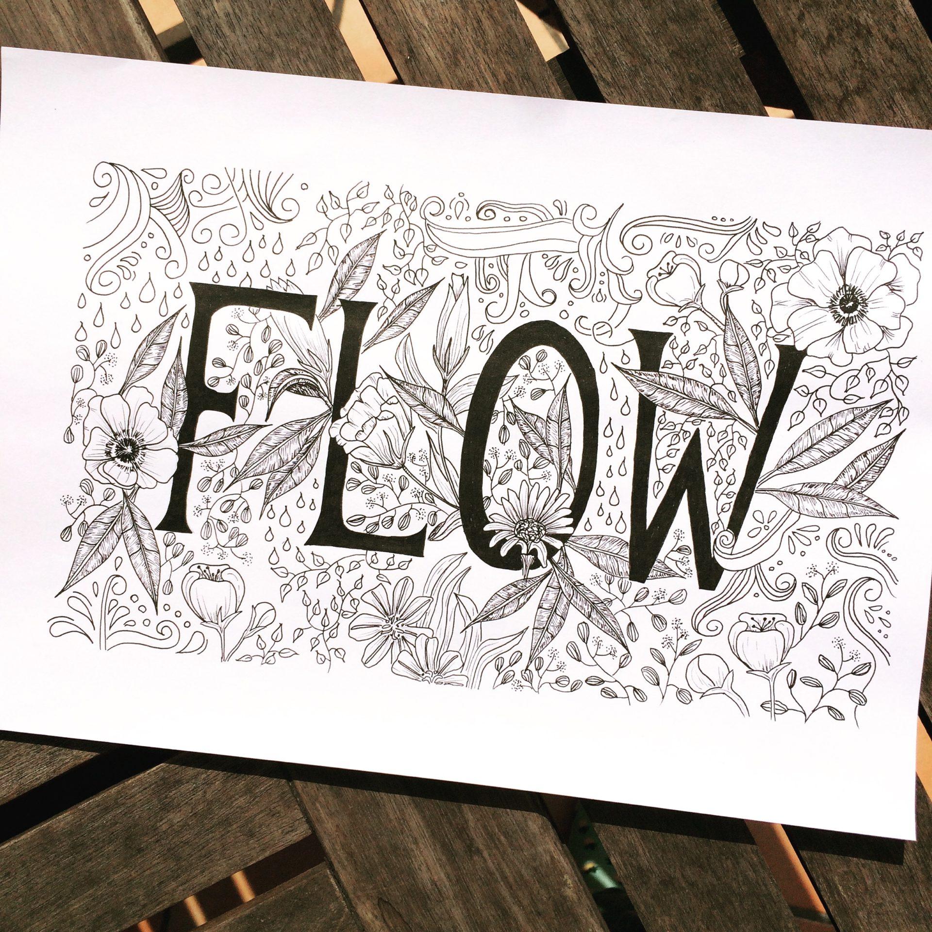 Handlettering: Flow, schwarze Großbuchstaben mit Serifen